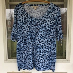 Michael Kors Floral Knit Top in Blue Hues!